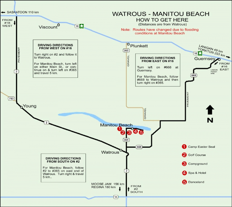 Synod 2015 – Map to Manitou Beach